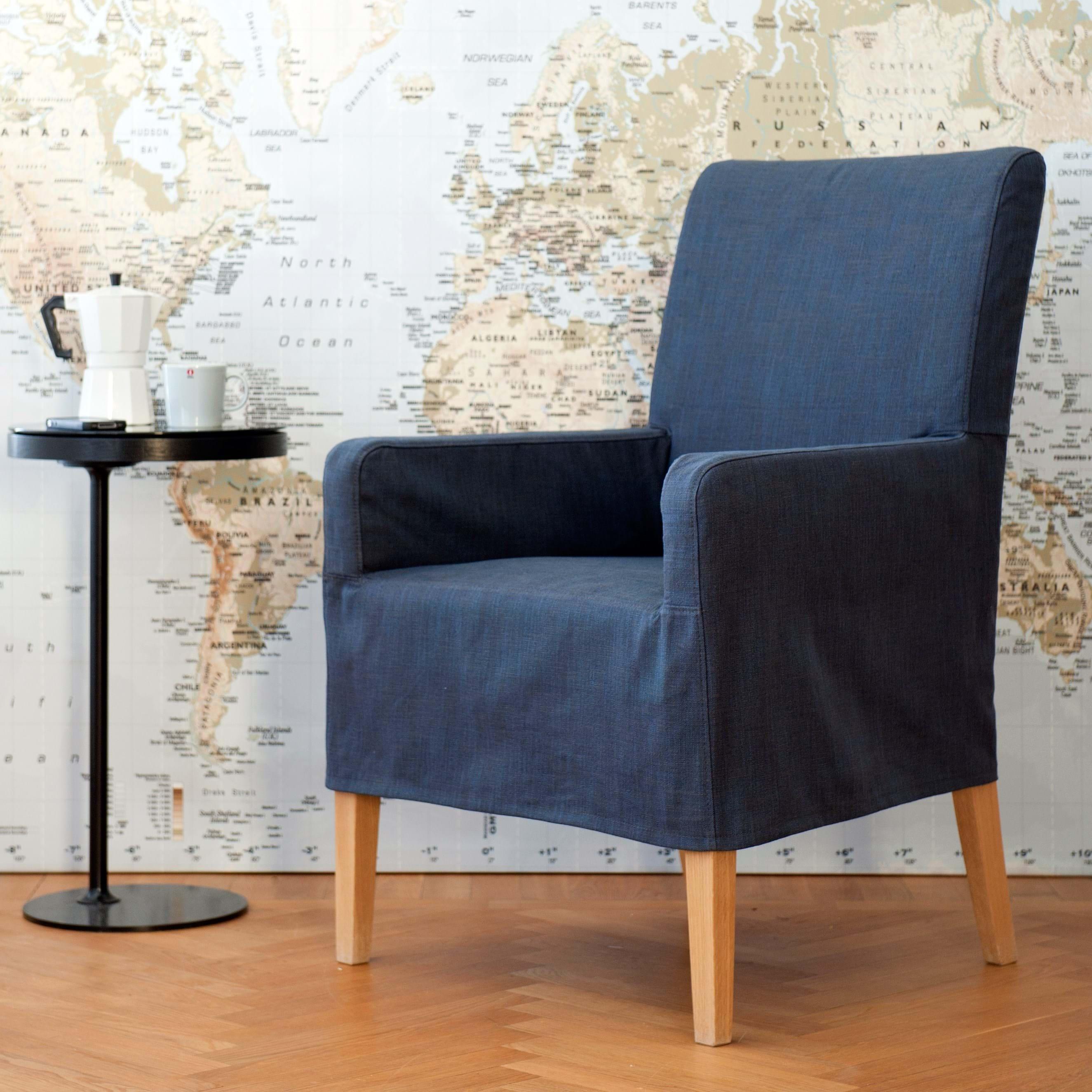 Henriksdal, trekk til stol med armlene, medium lengde på