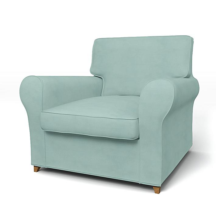 IKEA - Överdrag till Ängby fåtölj (standard modell), Mineral Blue, Linne - Bemz