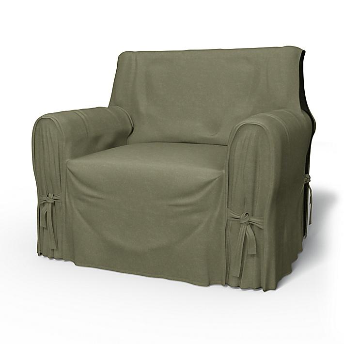 IKEA - Trekk til lenestol, Multi Fit liten modell, Sage, Fløyel - Bemz