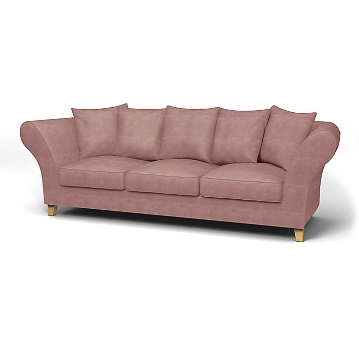 IKEA - Trekk til Backa 3,5-seters sofa, Clover Pink, Fløyel - Bemz