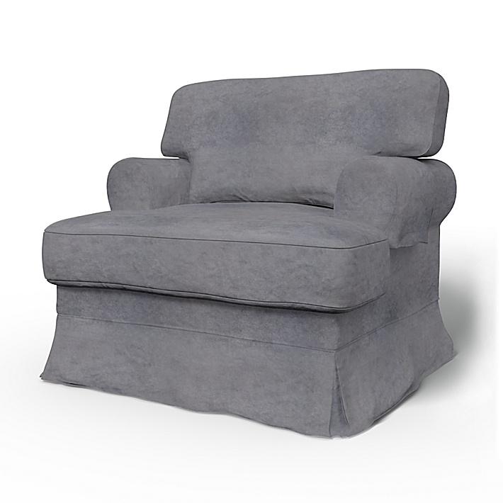 IKEA - Trekk til Ekeskog lenestol, Zinc Grey, Fløyel - Bemz
