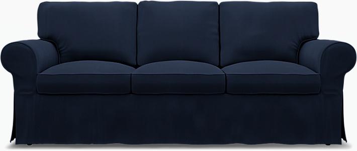 IKEA - Överdrag till Ektorp 3-sitsbäddsoffa, Deep Navy Blue, Bomull - Bemz