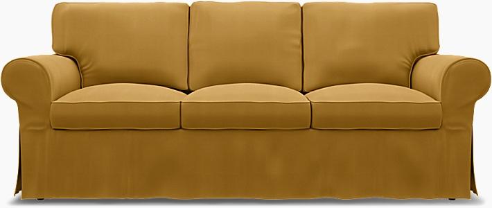 IKEA - Överdrag till Ektorp 3-sitsbäddsoffa, Honey Mustard, Bomull - Bemz