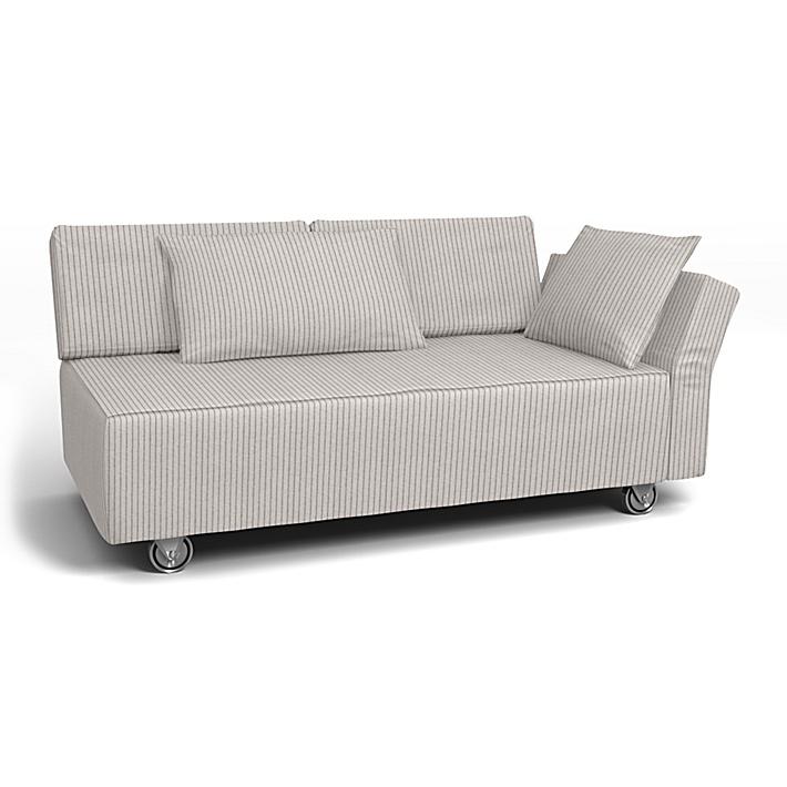 IKEA - Bezug für 2er-Sofa Falsterbo, Armlehne rechts, Silver Grey, Conscious - Bemz