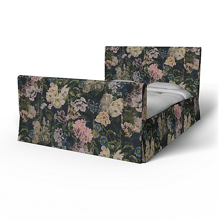 IKEA - Överdrag till Florö sängstomme, Delft Flower - Graphite, Linne - Bemz