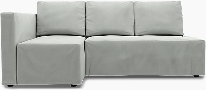 IKEA - Överdrag till Friheten bäddsoffa med vänster schäslong, Silver Grey, Linne - Bemz