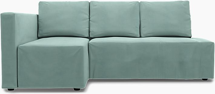 IKEA - Överdrag till Friheten bäddsoffa med vänster schäslong, Mineral Blue, Linne - Bemz