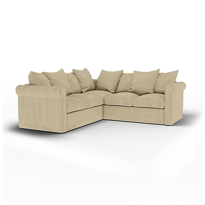 IKEA - Överdrag till Grönlid 4-sitshörnsoffa, Sand Beige, Bomull - Bemz