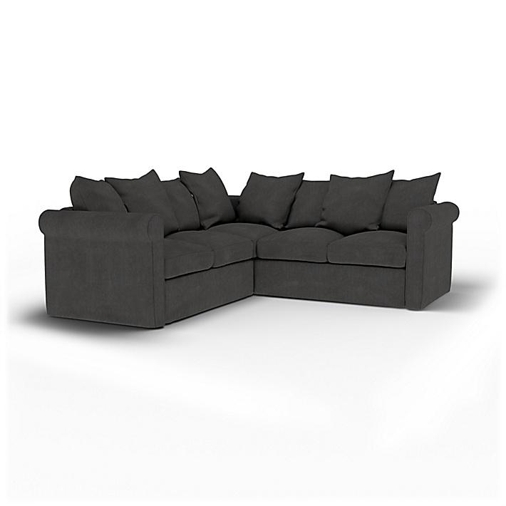 IKEA - Housse de canapé d'angle 4 places Grönlid, Espresso, Lin - Bemz