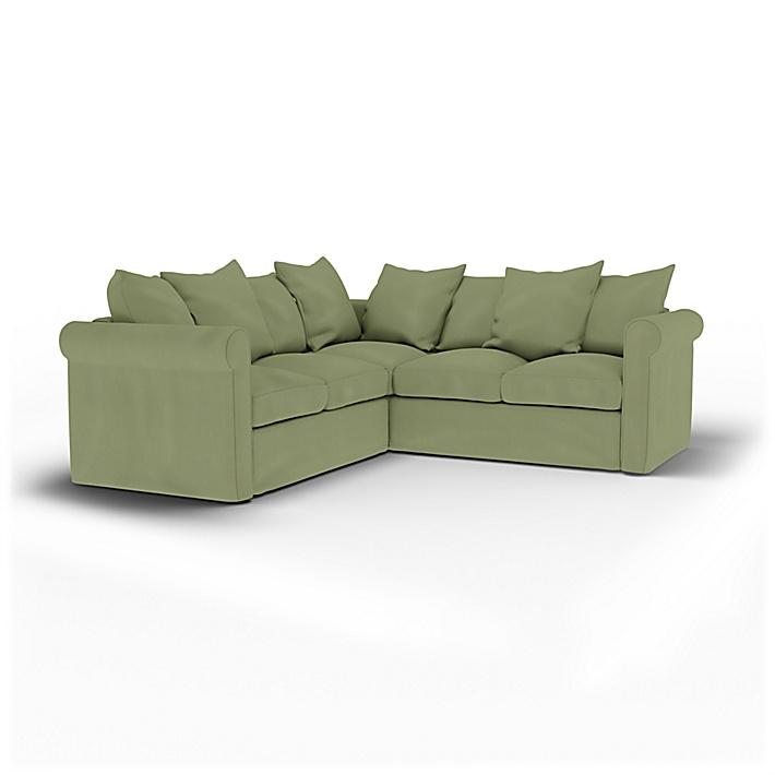 IKEA - Housse de canapé d'angle 4 places Grönlid, Olive, Lin - Bemz