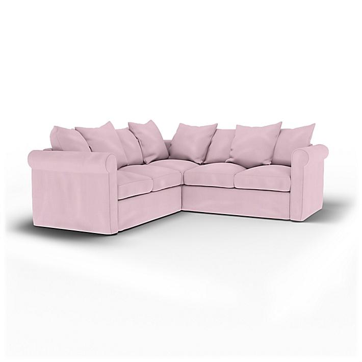 IKEA - Housse de canapé d'angle 4 places Grönlid, Pale Rose, Lin - Bemz