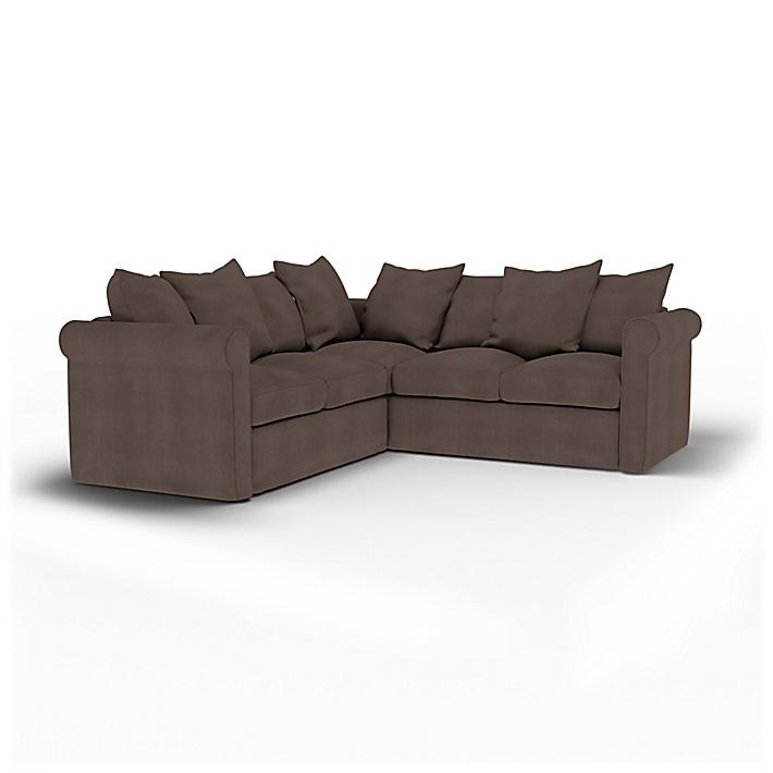IKEA - Housse de canapé d'angle 4 places Grönlid, Cocoa, Lin - Bemz