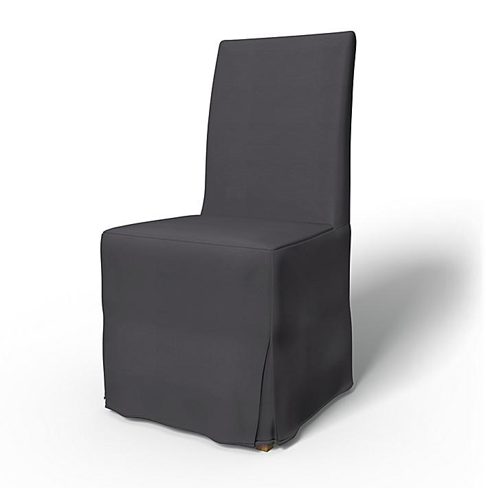 IKEA - Överdrag till Henriksdal stol Lång kappa med motveck (standard modell), Absolute Graphite Grey, Bomull - Bemz