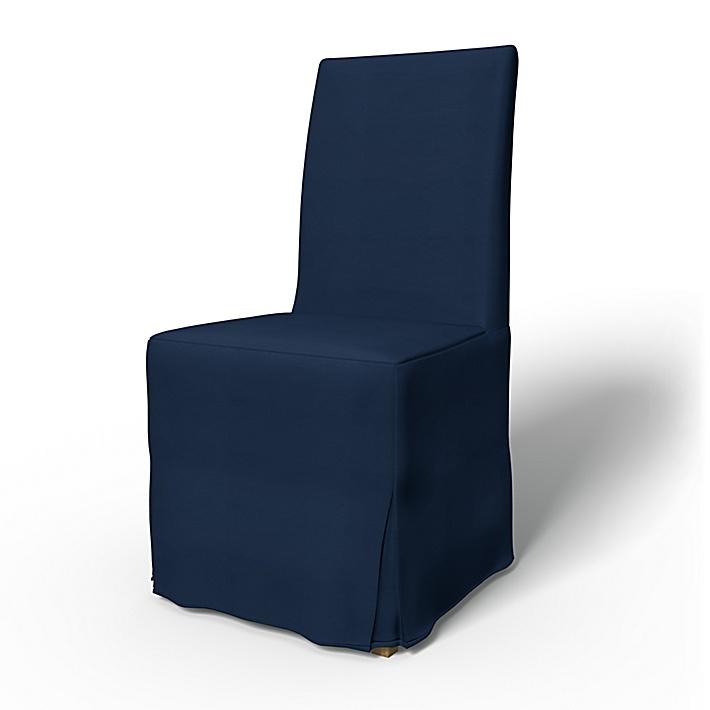 IKEA - Överdrag till Henriksdal stol Lång kappa med motveck (standard modell), Navy Blue, Bomull - Bemz