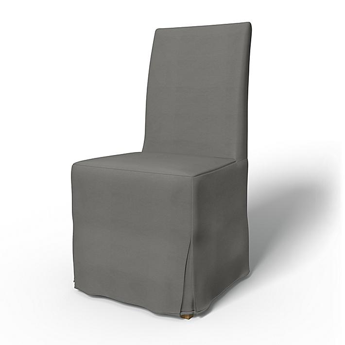 IKEA - Överdrag till Henriksdal stol Lång kappa med motveck (standard modell), Zinc Grey, Bomull - Bemz