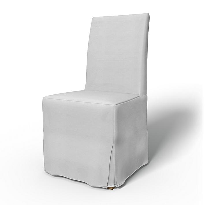 IKEA - Överdrag till Henriksdal stol Lång kappa med motveck (standard modell), Silver Grey, Bomull - Bemz