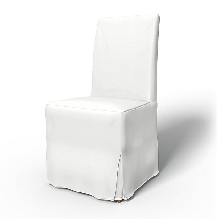 IKEA - Överdrag till Henriksdal stol Lång kappa med motveck (standard modell), Absolute White, Bomull - Bemz