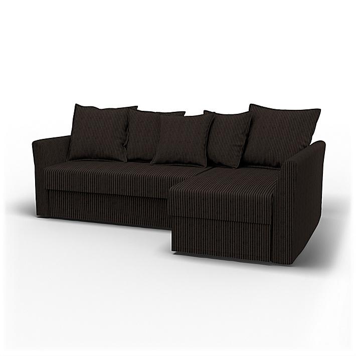 IKEA - Överdrag till Holmsund 3-sitsbäddsoffa med schäslong, Graphite Grey, Conscious - Bemz