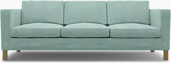 IKEA - Överdrag till Karlanda 3-sitssoffa, Mineral Blue, Linne - Bemz