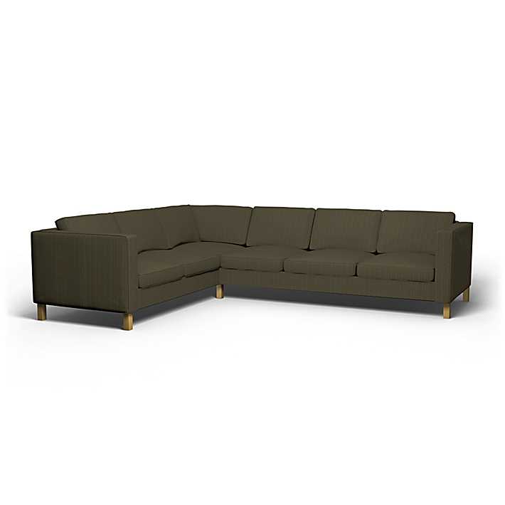 IKEA - Överdrag till Karlanda hörnsoffa (2+3), Jet Black/Sand Beige, Conscious - Bemz