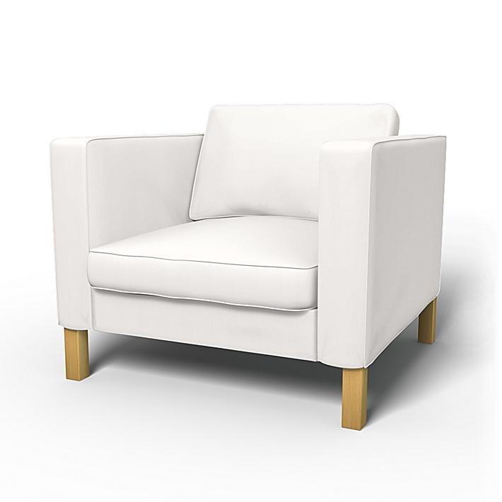 IKEA - Överdrag till Karlstad fåtölj (stor modell), Soft White, Linne - Bemz