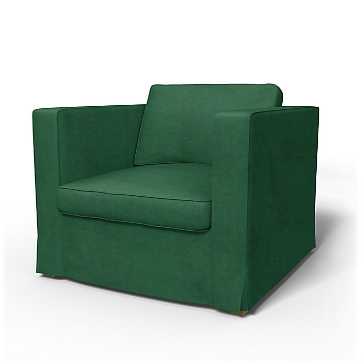 IKEA - Bezug für Sessel Karlstad (größeres Modell), Ivy Green, Samt - Bemz