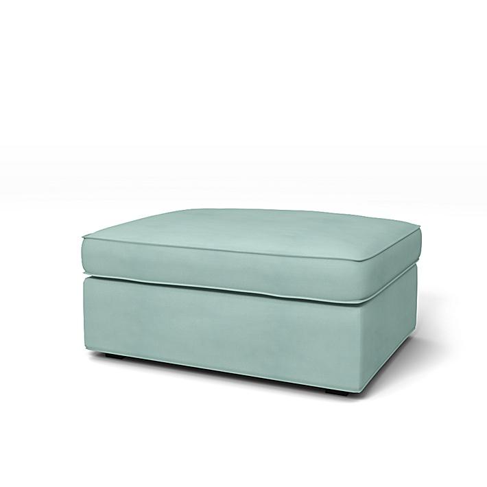 IKEA - Bezug für Hocker Kivik, Mineral Blue, Leinen - Bemz