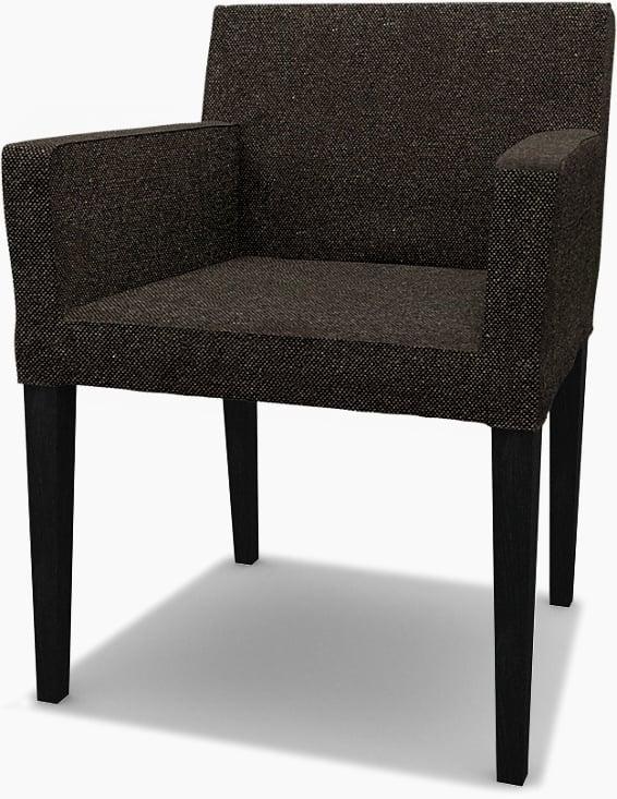IKEA - Trekk til Nils spisestuestol med armlener, Graphite Grey, Conscious - Bemz