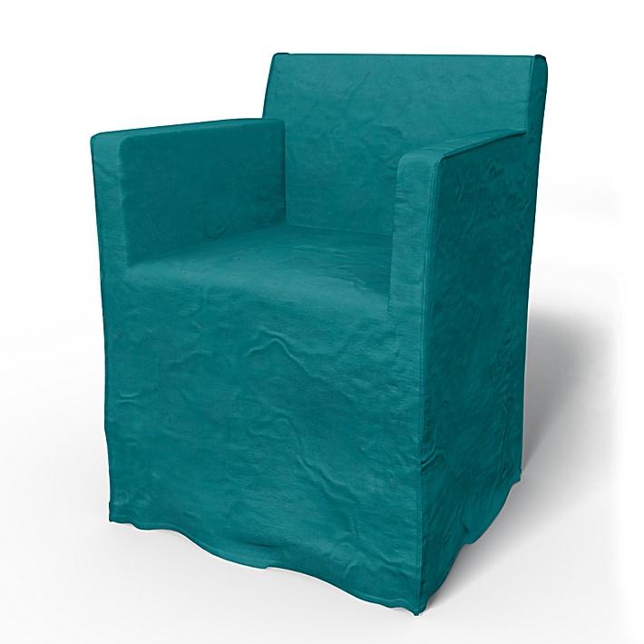 IKEA - Bezug für Stuhl Nils mit Armlehnen, Teal Blue, Samt - Bemz