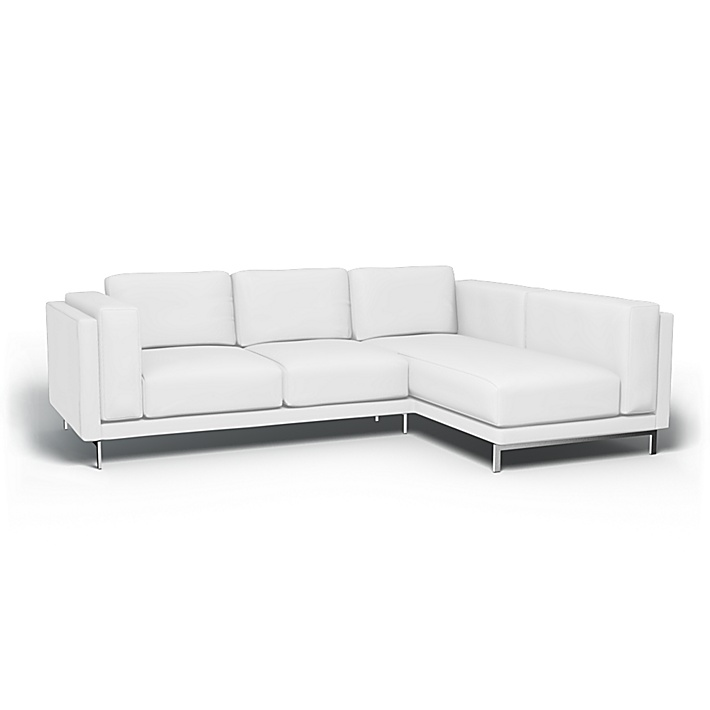 IKEA - Bezug für 3er-Sofa Nockeby, Récamiere rechts, Absolute White, Leinen - Bemz
