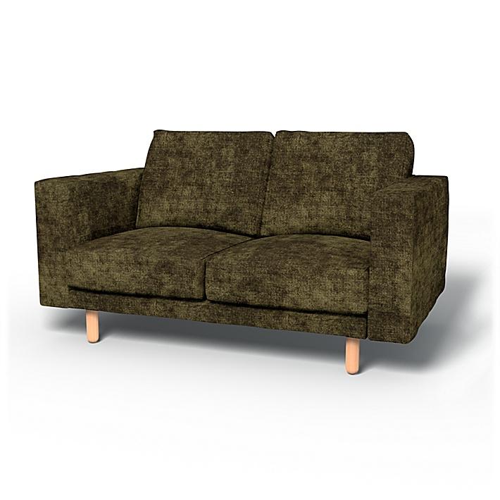 IKEA - Överdrag till Norsborg 2-sitssoffa, Olive, Sammet - Bemz