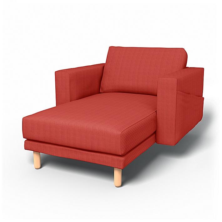 IKEA - Trekk til Norsborg frittstående sjeselong med armlener, Brick Red, Kordfløyel - Bemz