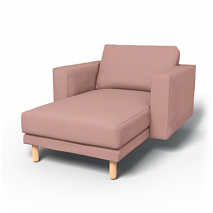 IKEA - Överdrag till Norsborg fristående schäslong med armstöd, Misty Rose, Bomull - Bemz