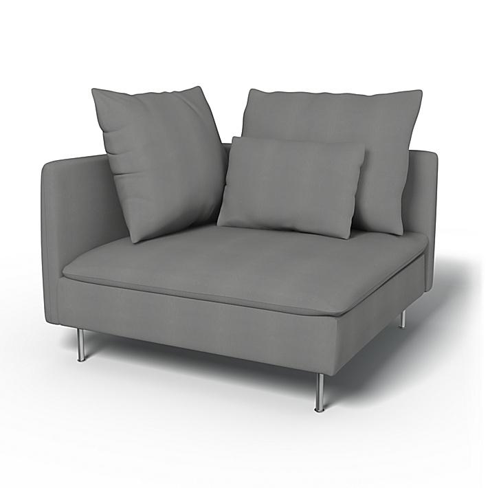 IKEA - Trekk til Söderhamn hjørneseksjon, Zinc Grey, Bomull - Bemz