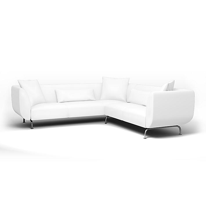 IKEA - Överdrag till Strömstad hörnsoffa, Absolute White, Linne - Bemz