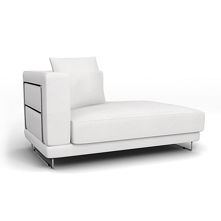IKEA - Överdrag till Tylösand schäslong med höger armstöd, Absolute White, Bomull - Bemz