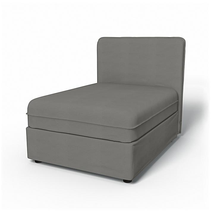 IKEA - Trekk til Vallentuna sittemodul med lav rygg 80x100 cm, Zinc Grey, Bomull - Bemz