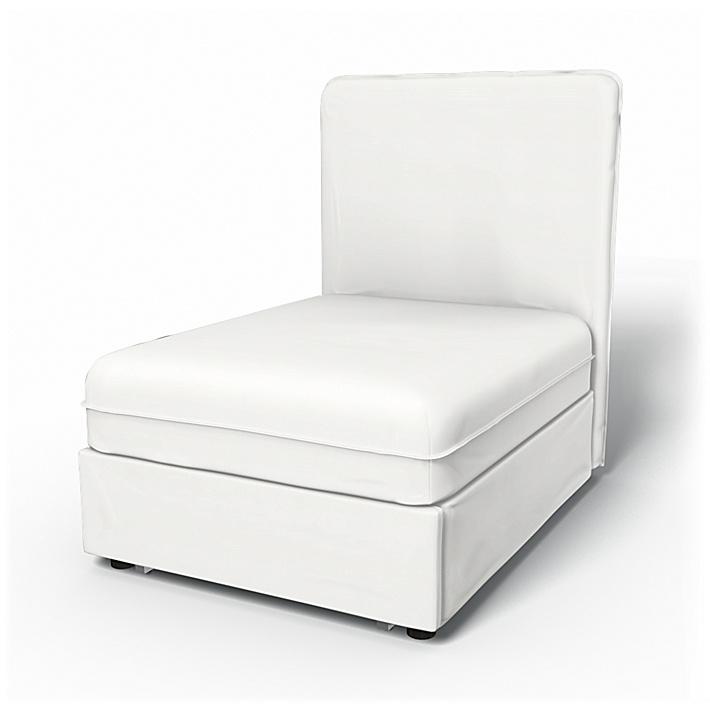 IKEA - Överdrag till Vallentuna 1-sitssektion med bädd (80x100x46cm), Absolute White, Linne - Bemz