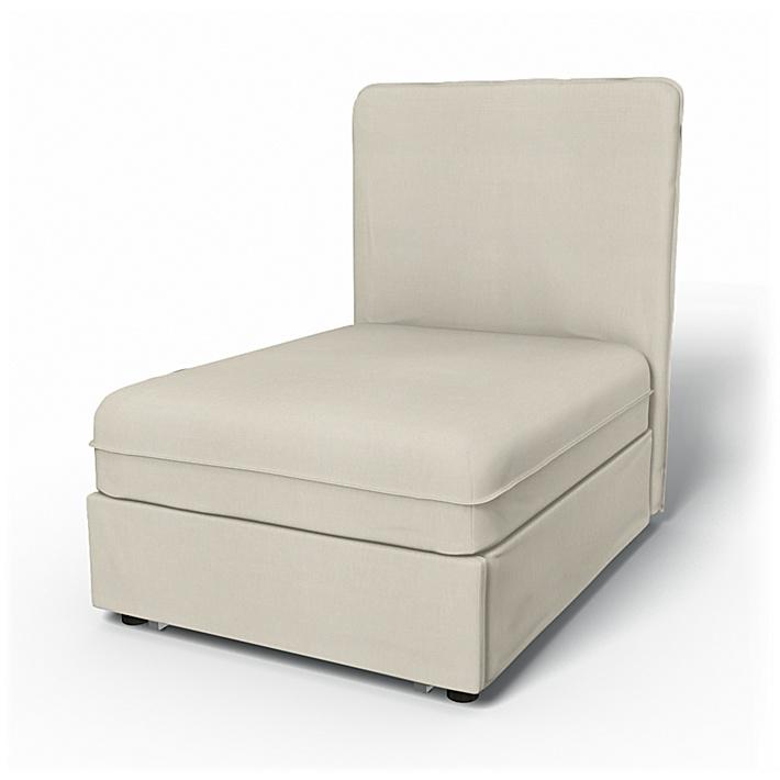IKEA - Överdrag till Vallentuna 1-sitssektion med bädd (80x100x46cm), Unbleached, Linne - Bemz