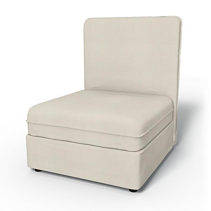 IKEA - Överdrag till Vallentuna 1-sitssektion med hög rygg och förvaring (80x100cm), Unbleached, Linne - Bemz