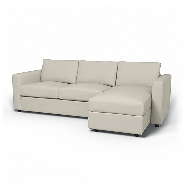 IKEA - Trekk til Vimle 2-seters sofa med sjeselong, Eggshell, Fløyel - Bemz