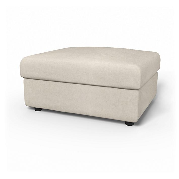 IKEA - Överdrag till Vimle fotpall med förvaring, Unbleached, Linne - Bemz